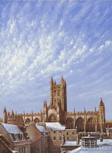 168 Bath Abbey and Rooftops in Snow